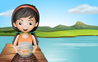 Um, menina, com, um, aquário, ficar, em, a, mergulhando tábua vetor