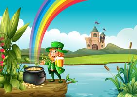A man and a pot of gold above the trunk across the castle