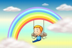 Un angel cerca del arcoiris vector