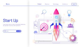 Rocket launch to target for success and income business modern flat design concept, business project startup process, idea through planning and strategy vector