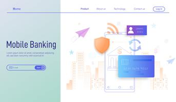 Mobile banking modern flat design concept for landing page , online payment and protection of money in smartphone transactions vector.