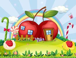 A hilltop with two apple houses and a rainbow