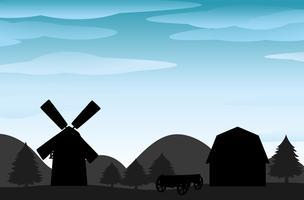 Silhouette farm vector