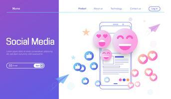 Medios de comunicación social moderno diseño plano concepto vector