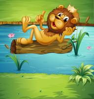 A smiling lion on a dry wood