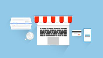 Shopping online e marketing di design di elementi piatti con posto di lavoro. illustrazione vettoriale