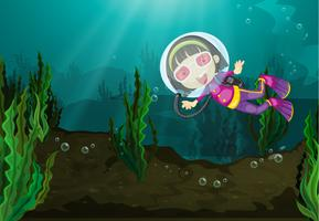 Diving girl vector