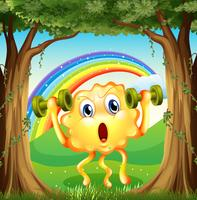 A monster exercising at the forest with a rainbow in the sky