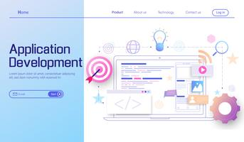 Application Development and web development modern flat design concept, landing page of mobile app coding and programming cross platform devices vector.