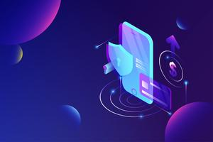 Online payment via credit card protection on smartphone concept. Electronic bill, secure online shopping pay through smartphone and internet banking