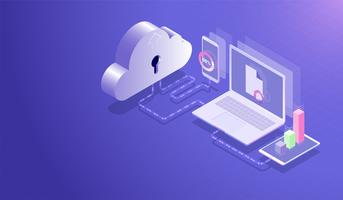 Isometrisches Cloud-Datenspeicherzentrum und Cloud-Computing-Konzept, Datenübertragungs-Upload-Download-Prozess durch Laptop, Smartphone und Tablet, Datenbank-Hosting-Server