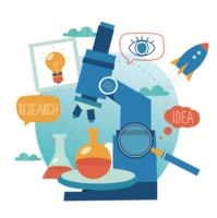 Microscope research Vector drawing