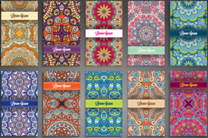 Etnisk mönster bakgrund coverpage design vektor