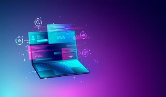 Desenvolvimento da Web e conceito de programação da codificação, otimização de SEO, design web moderno no vetor da tela do portátil.
