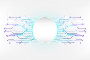 Cyan white abstract technology background with circuit line concept and Circle empty space