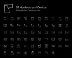 Hardware Mobile Phone Computer Devices Pixel Perfect Icons (line style) Shadow Edition.