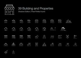 Building and Properties Pixel Perfect Icons (line style) Shadow Edition.