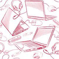 Fondo senza cuciture del collegamento dei computer del modello senza cuciture del computer portatile.