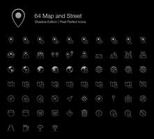 54 Map and Street Pixel Perfect Icons (line style) Shadow Edition.  vector