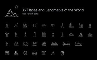 35 Places and Landmarks of the World Pixel Perfect Icons (Line Style Shadow Edition).