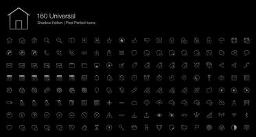 Universal Pixel Perfect Ikoner (linje stil) Shadow Edition.