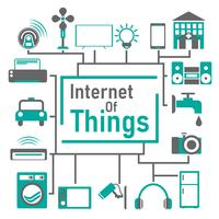Internet of things vector concept, everything working automatic and can control things everywhere in the world by smartphone.
