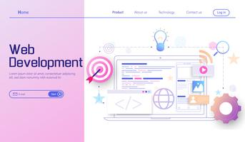Web development modern flat design concept, mobile app development, coding and programming vector