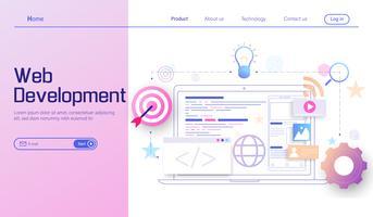 Modernes flaches Konzept des Entwurfes der Webentwicklung, bewegliche APP-Entwicklung, Kodierung und Programmierungsvektor