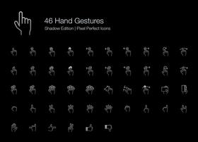 Hand Gestures Pixel Perfect Icons (line style) Shadow Edition.