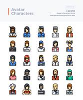 Vecteur détaillé ligne de couleur Icons Set of People and Avatar. 64x64 Pixel Stroke Perfect et Editable.