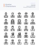 Detailed Vector Line Icons Set of People and Avatar. 64x64 Pixel Perfect and Editable Stroke.