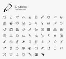 67 Objekte Pixel Perfect Icons Linienart.