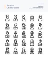 Vecteur détaillé ligne Icons Set of People and Avatar. 64x64 Pixel Stroke Perfect et Editable.