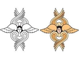 Angel. Hand drawn religious symbol. Archangel with wings icon