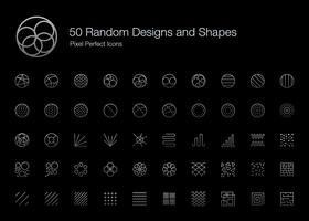 50 willekeurige designs en vormen Pixel Perfect Icons (Line Style Shadow Edition).