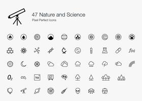 47 Style de ligne Pixel Perfect Icons Nature et Science.