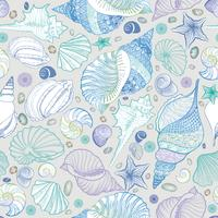 Seashell seamless pattern. Summer holiday marine background