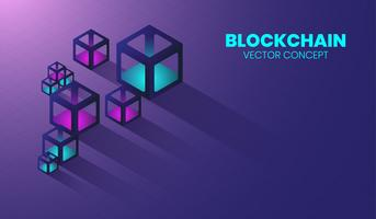Blockchain new technology in 3d box and isometric concept, digital crytocurrency, electronic cyber system. vector