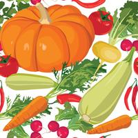 Vegetables pattern. Garden harvest seamless background.