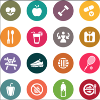 Health and Workout icons - vector