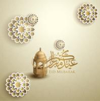 eid Mubarak vettoriale con lanterna e grafica islamica - vettoriale