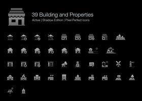 39 Building and Properties Pixel Perfect Icons (Filled Style Shadow Edition).