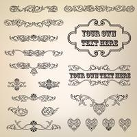 Calligraphic floral element. Page decor vignette borders, dividers set