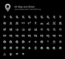 64 Kaart en straat Pixel perfecte pictogrammen (Filled Style Shadow Edition).