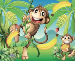 Apen met banaanillustratie - vector
