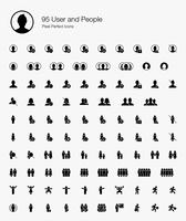 95 User and People Pixel Perfect Icons (Filled Style).  vector