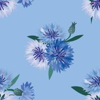 Floral seamless pattern. Flower cornflower swirl background.