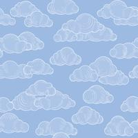 Abstract swirl cloud seamless pattern. Blue sky background