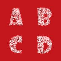 Alphabet set. Christmas Winter Holiday decor Latin letter characters