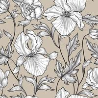 Floral seamless pattern. Flower background Engrave garden texture vector